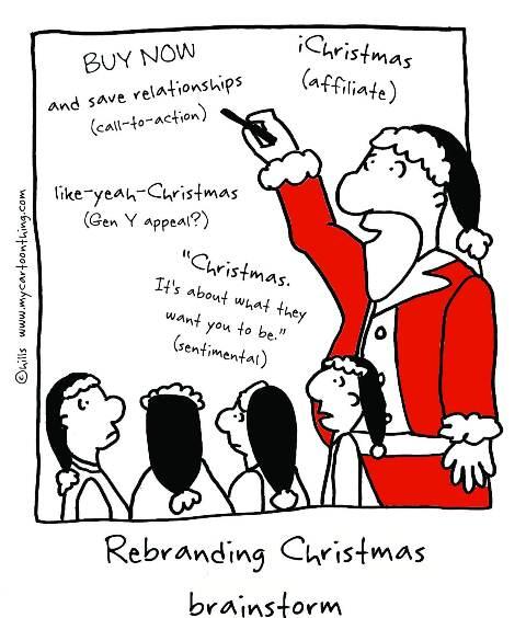 rebranding christmas brainstorm c Megan Hills mycartoonthing dot com